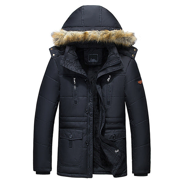 Winter Wark Thick Fleece Warm Furry Hooded Outdoor Parka
