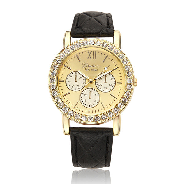 Women Casual Crystal PU Leather Band Analog Quartz Wrist Watch