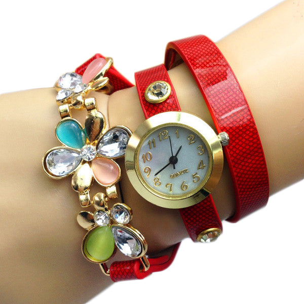 Women Rhinestone Plum Blossom Long Strap Analog Bracelet Watch