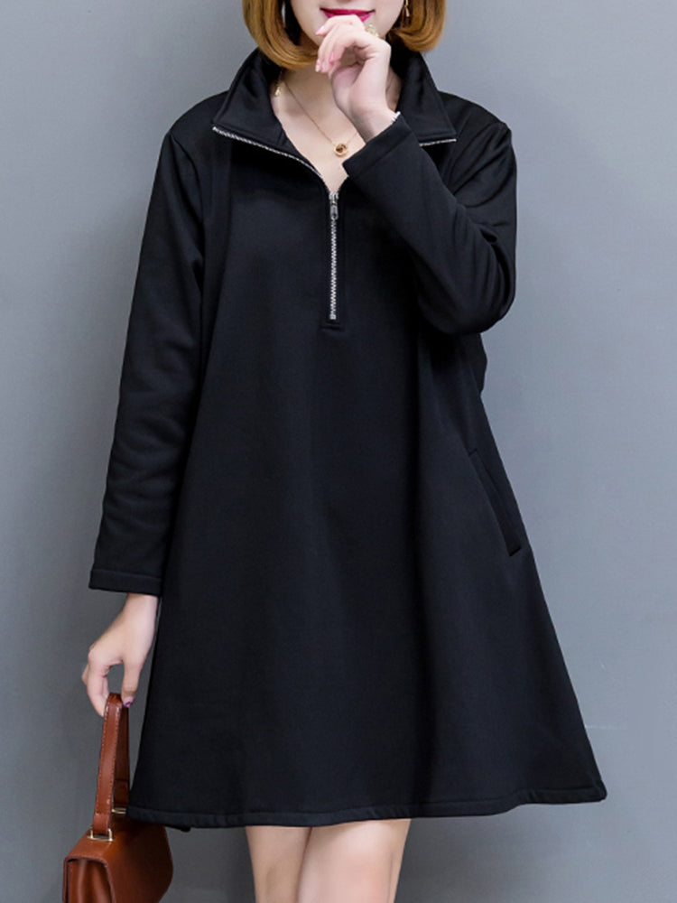 Women Thick Velvet Long Sleeve Dress