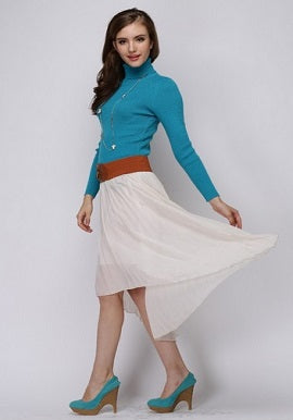 Women's Winter Turquoise Blue TurtleNecked Cashmere Sweater