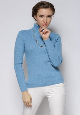 Women's Cool Stripes Lake Blue High Neck Sweater