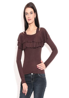 Women's Full Sleeve Brown Viscose Top