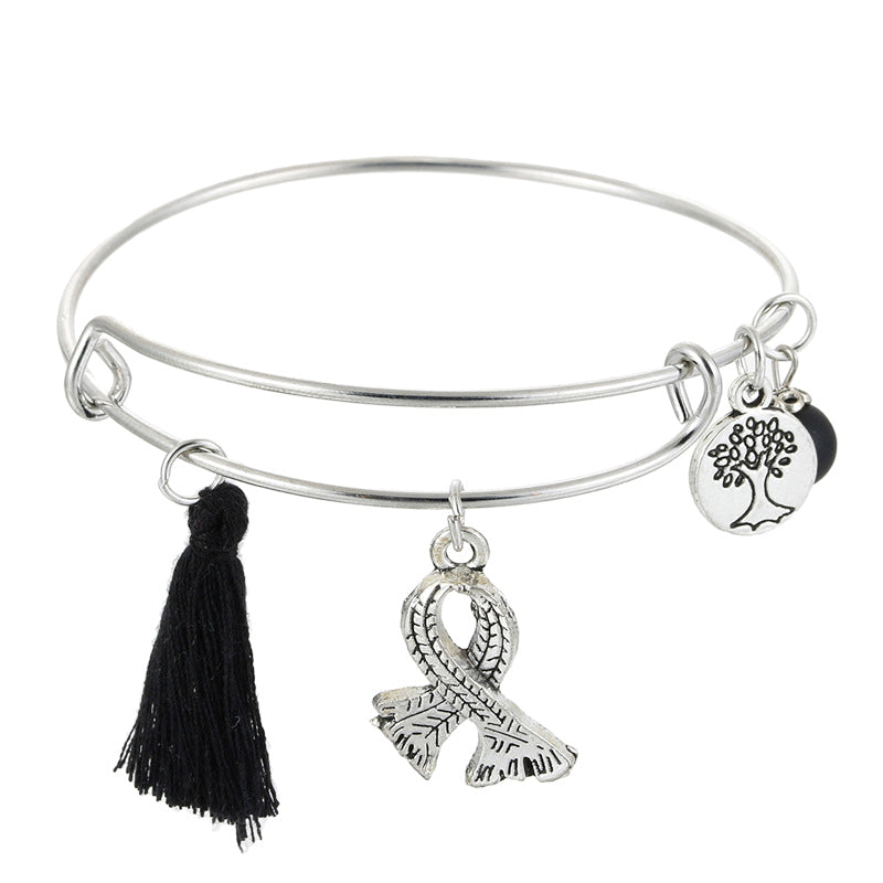 Women's Retro Multicolor Tassels Tree of Life Crystal Bangle