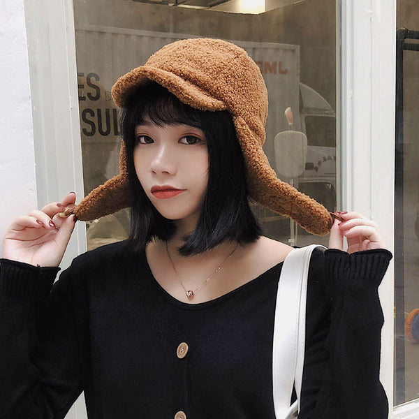 Wool Winter Bomber Hats For Women Men Lamb Cashmere Thicken Hats Warm Cap for Girl Boy Keep Warm Solid Color Men Women Bomber