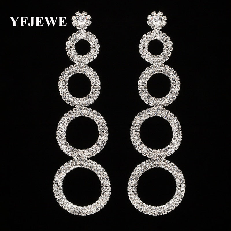 YFJEWE Wholesale Price New 2 Color Crystal Long Drop Earrings Bridal Wedding Party Accessories Dangle Earrings for Women E299
