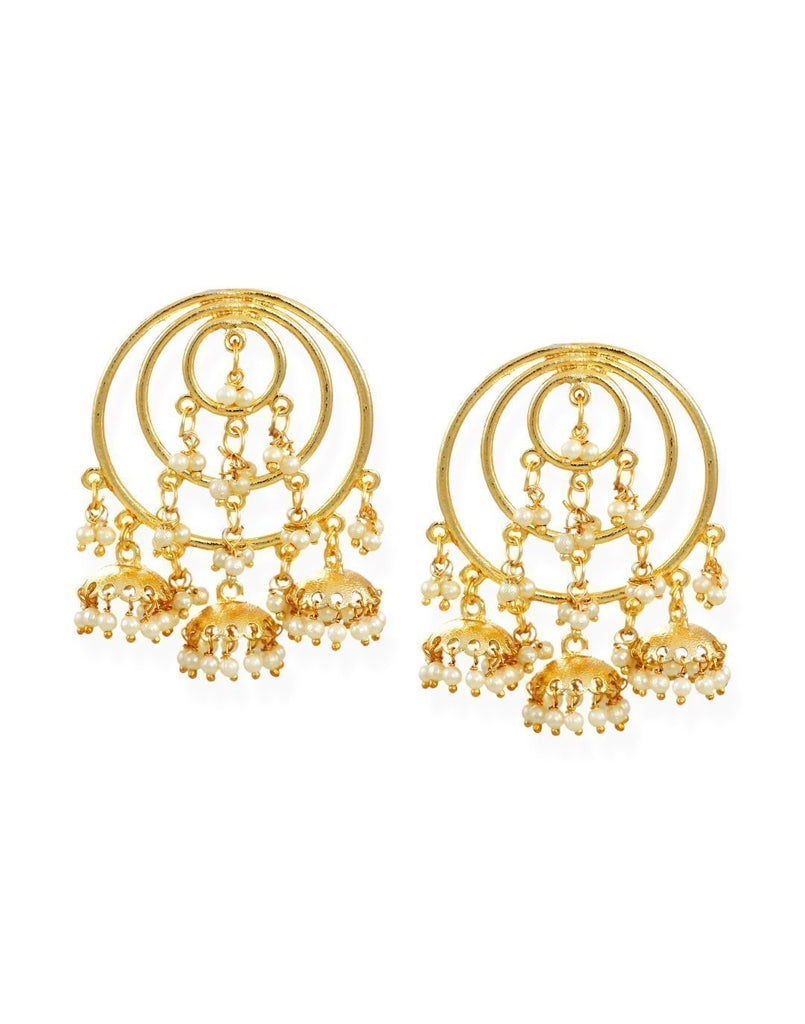 Zaveri Pearls Graceful Chandbali With Jhumki Drops Earring