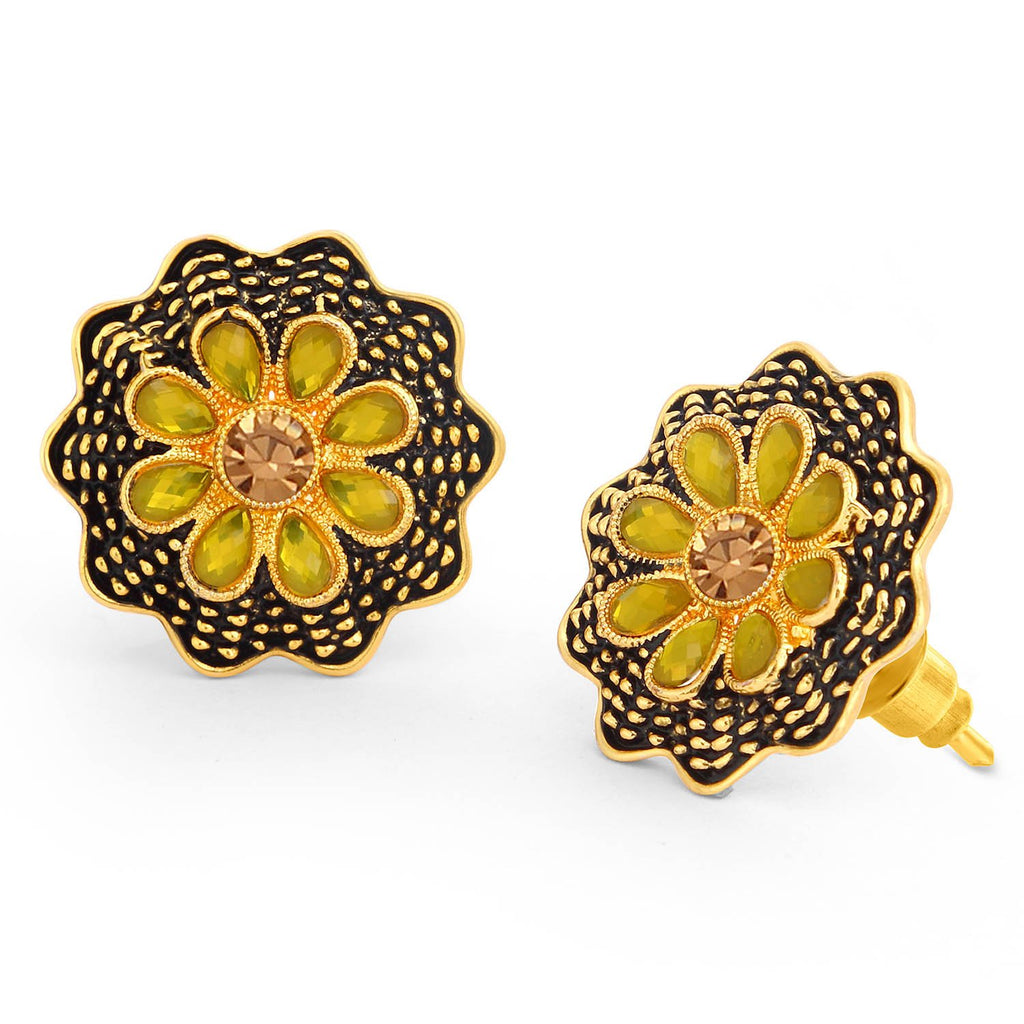 Sukkhi Exotic LCT Stone Gold Plated Floral Stud Earring For Women