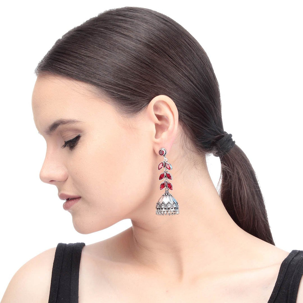 Oxidised Silver Plated Red Color Stones Floral Design Drop Jhumka Earring By Imli Street