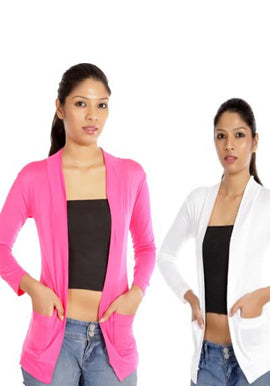 Solid Pink white front packet shrug value pack