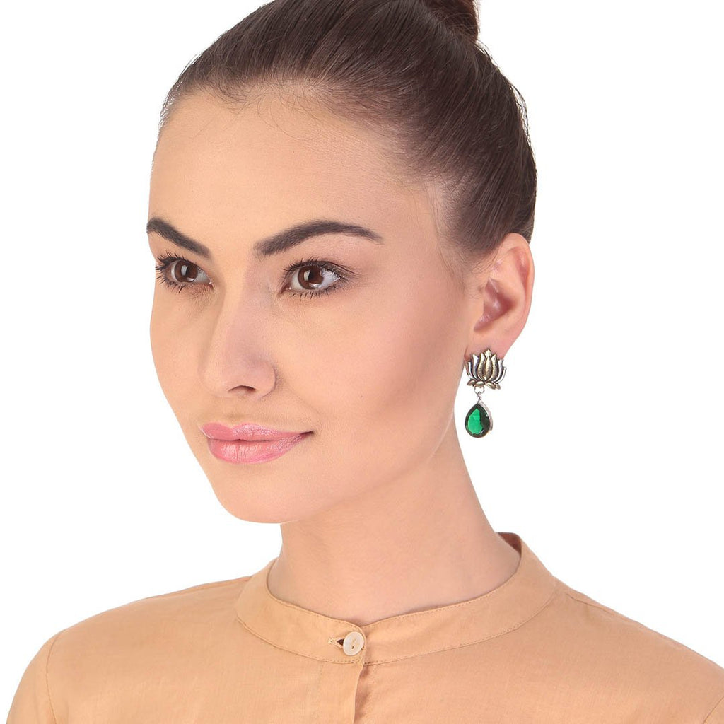 Dual Tone Plated Green Color Stone Lotus Design Drop Earring By Imli Street