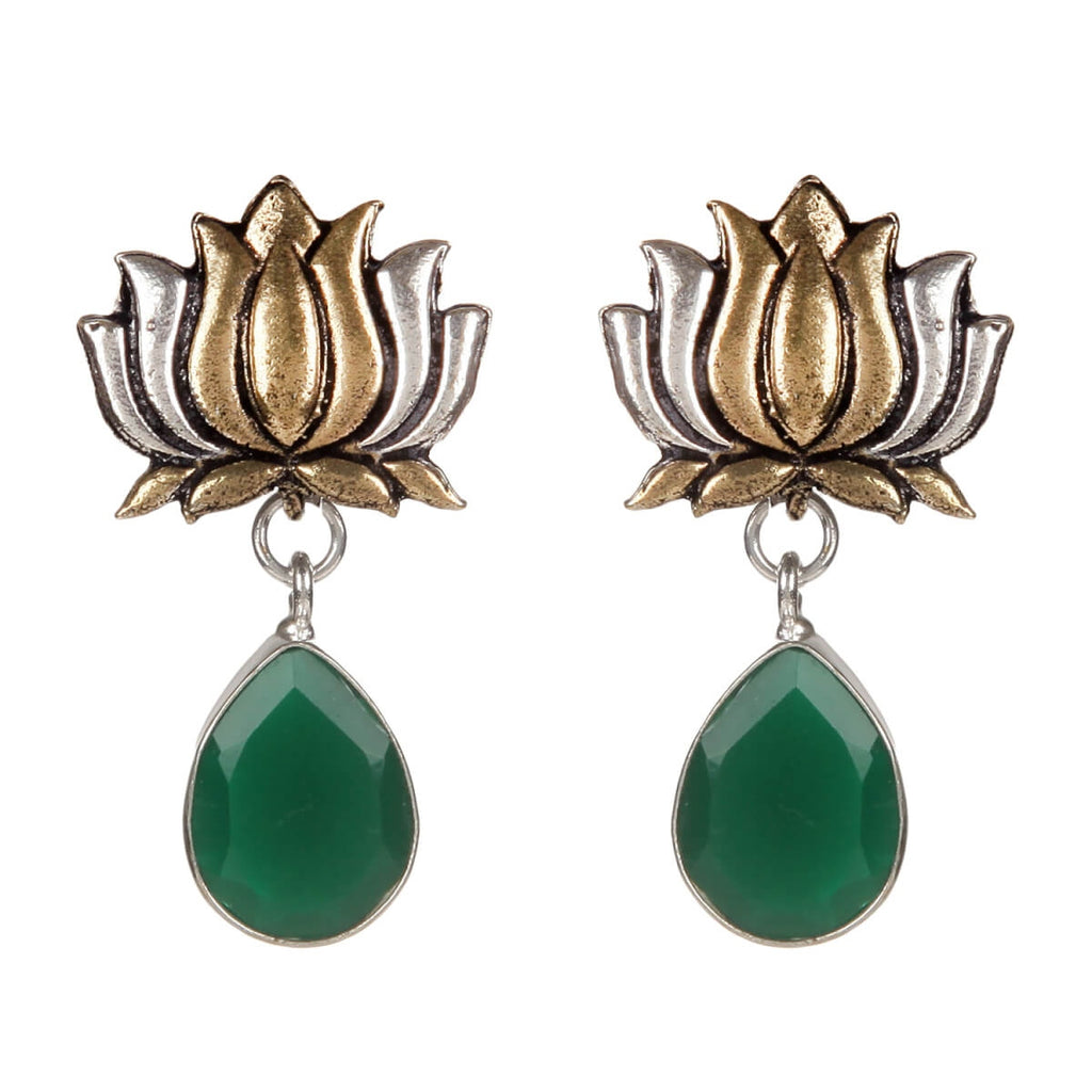 Alloy And Artificial Stones Drop Earrings Artificial Fashion Jewellery For Women Green Color