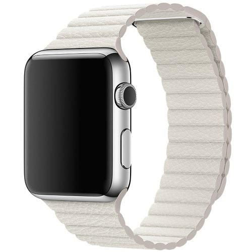 APPLE WATCH LEATHER LOOP MAGNETIC CLOSURE BAND 42/44MM, M - WHITE LEATHER