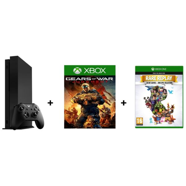 Gaming Console - Microsoft Xbox One X Gaming Console 1TB Black + Gears Of War + Rare Replay DLC Games | Buy online in Bahrain