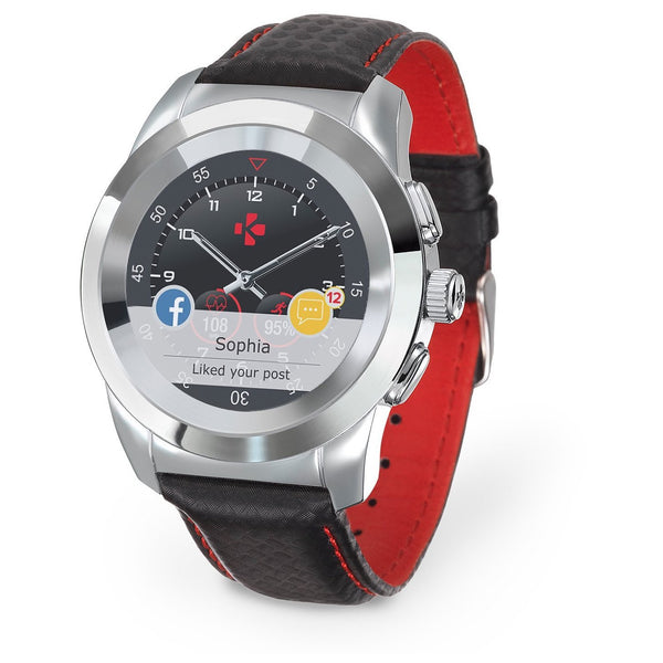 MyKronoz ZeTime Petite Premium Polished Silver/Black Carbon Red Stitching