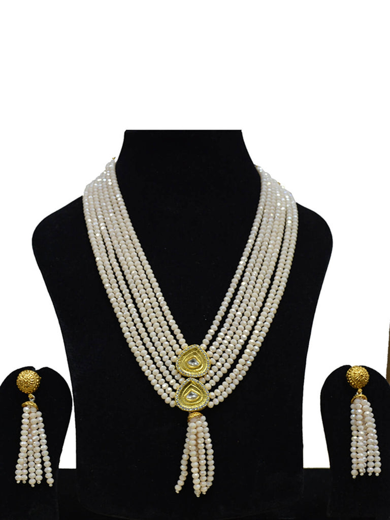 Beautiufl Ishya White Beads With Tassels Nacklace set