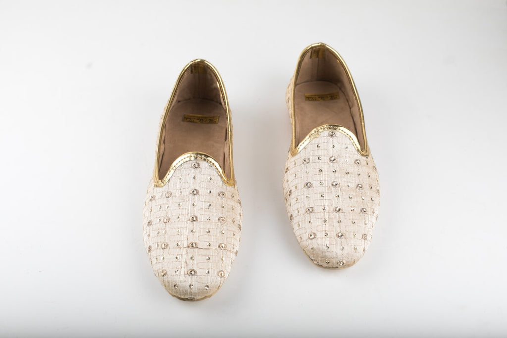 Beige Embroidered Loafers