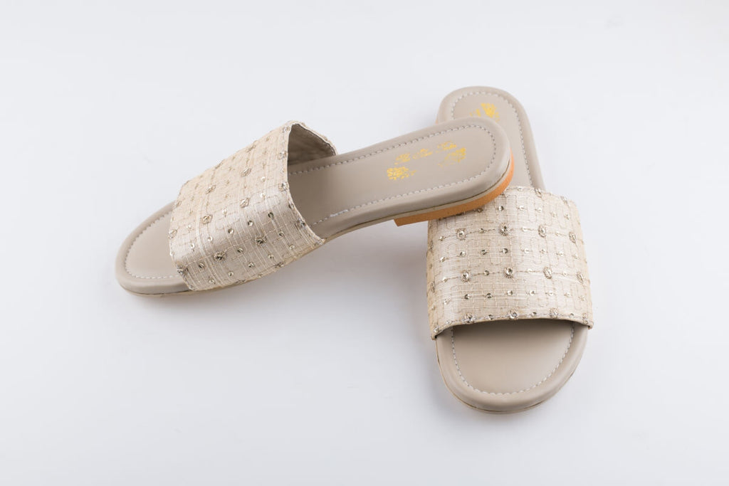 Beige Embroidered Slip-Ons