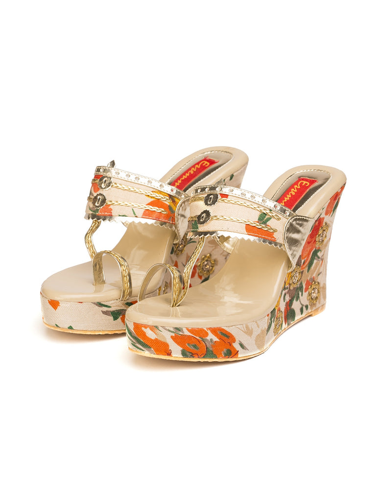 Beige Floral Wedges