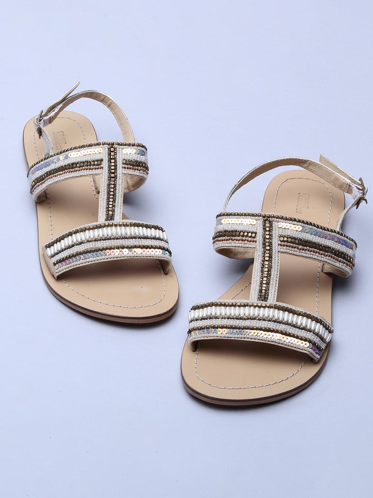 Beige Pearl Relay H-Shaped Sandals