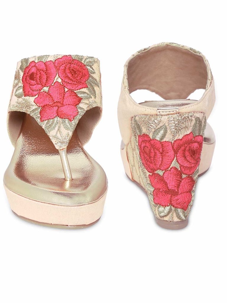 Beige Siendo Desi Embroidery T-Strap Open Wedges