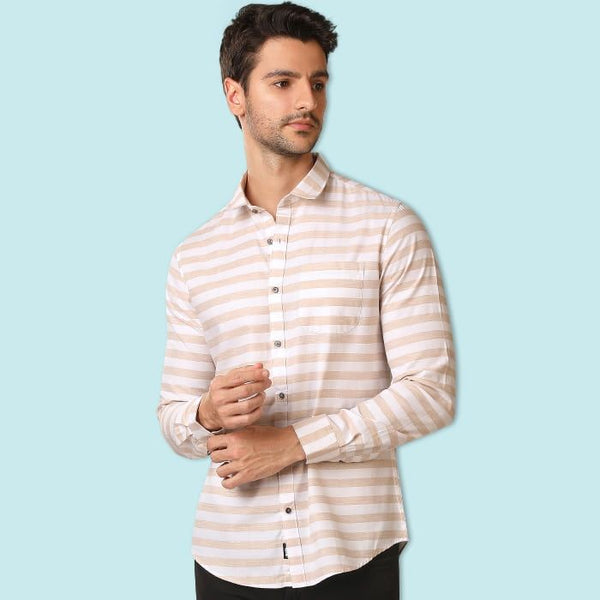 White & Beige Stripped Casual Shirt
