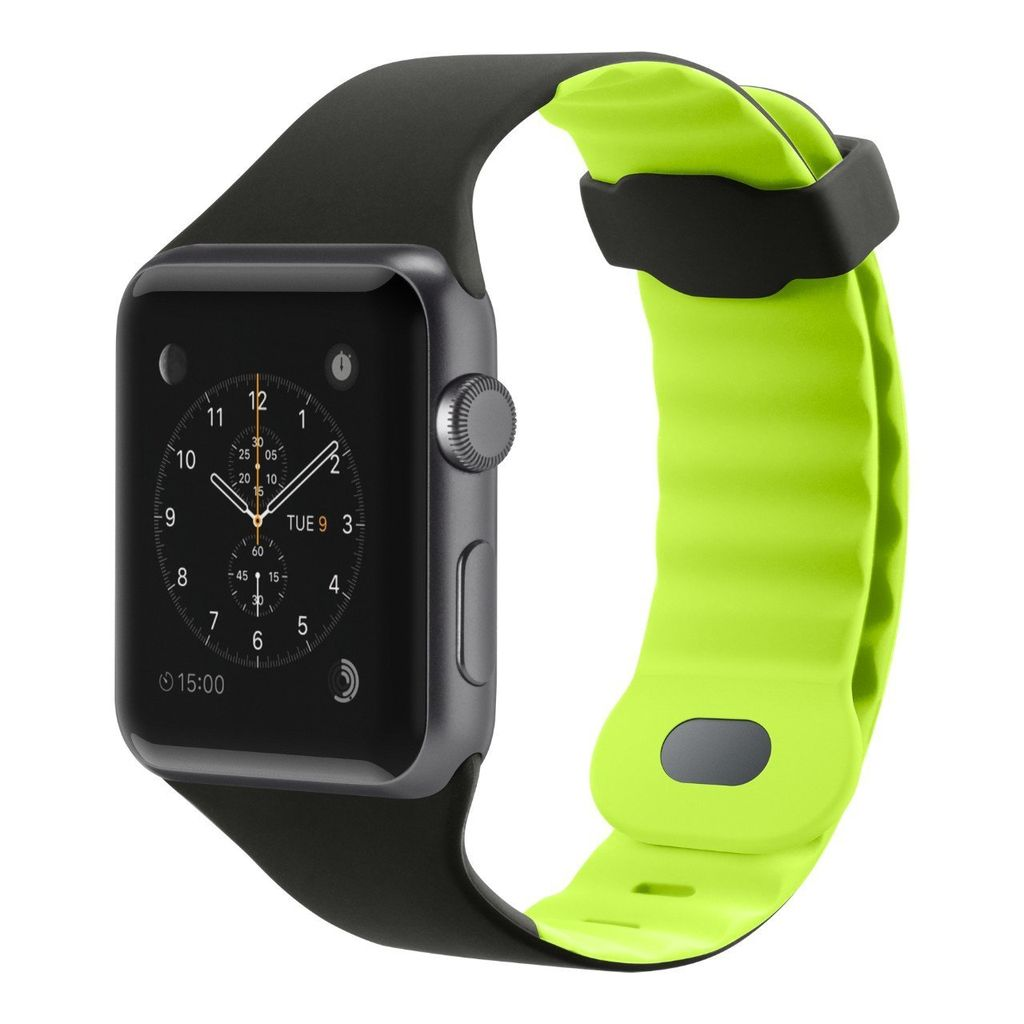 BELKIN APPLE WATCH 42/44MM SPORTS WRISTBAND - BLACKTOP FLASH (BLACK AND LIME)