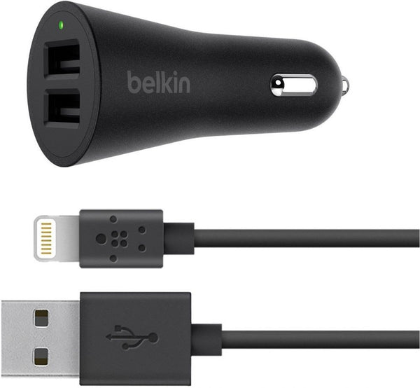 BELKIN BOOSTUP 24W/4.8A DUAL CAR CHARGER WITH LIGHTNING CABLE - BLACK