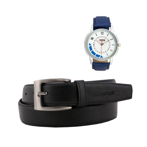 Two Pin Buckle Leather Belts & Lotto Blue Watch Combo