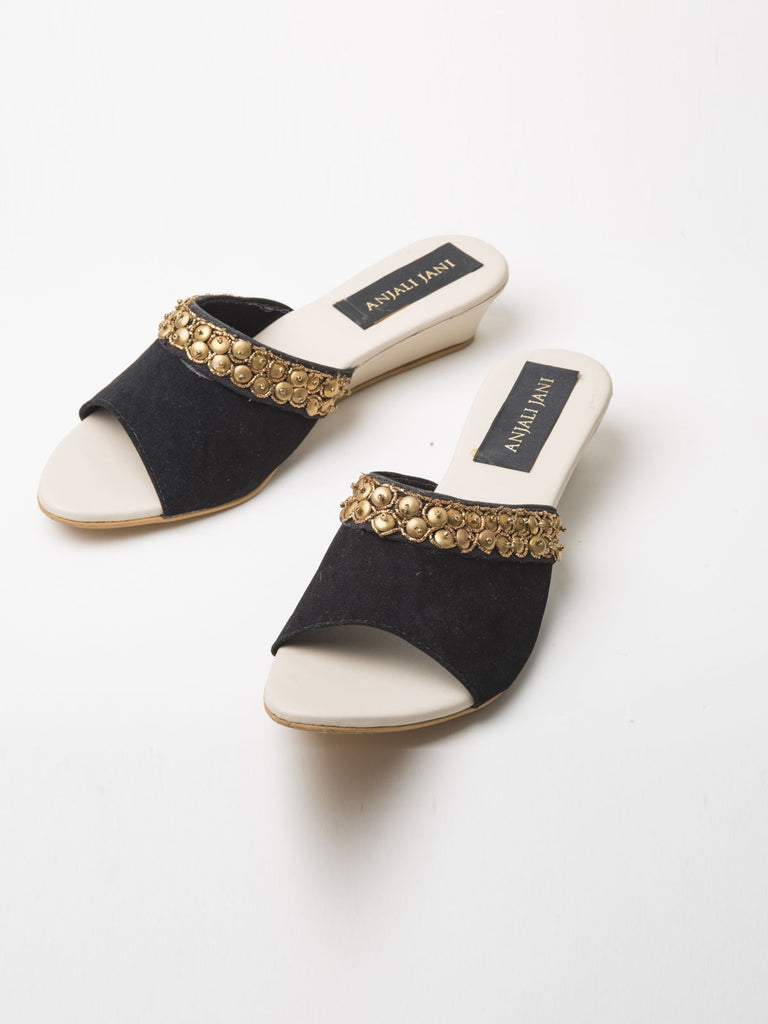 Black Faux Suede Slide Sandals With Sequence Embroidery