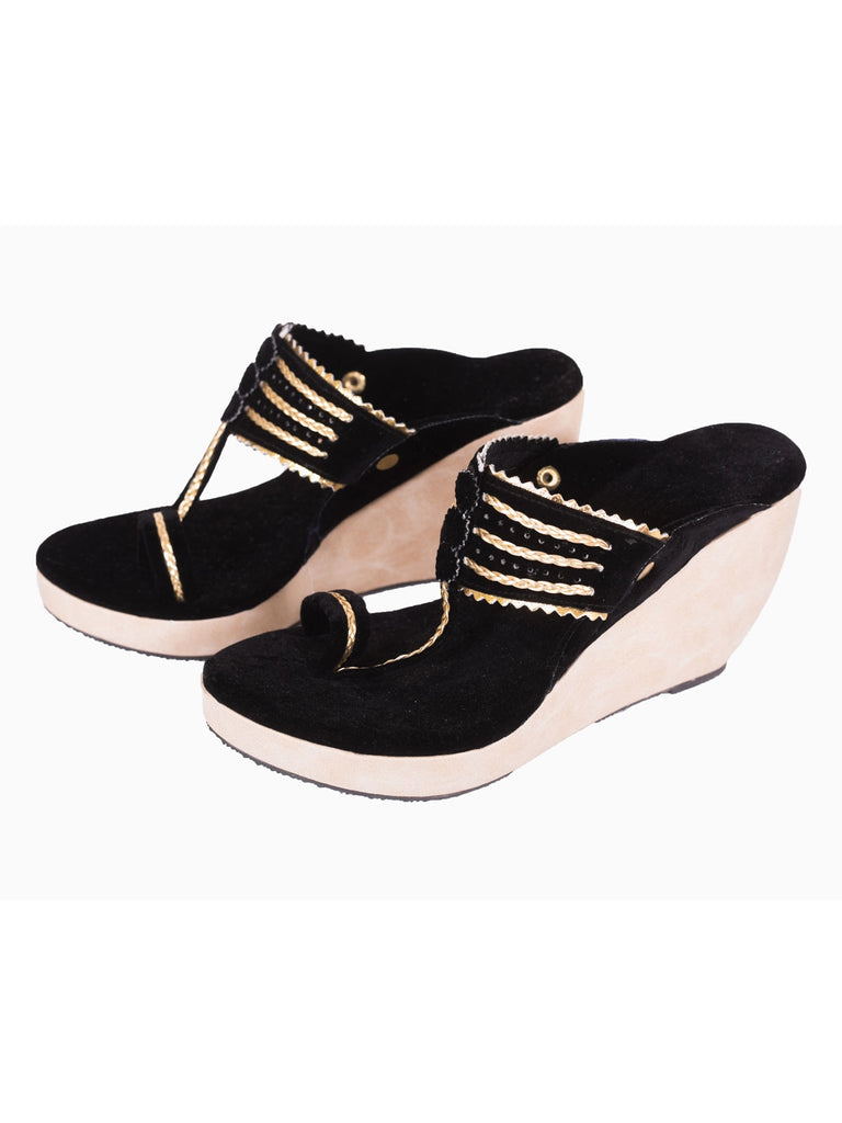 Black Kolhapuri Wedges