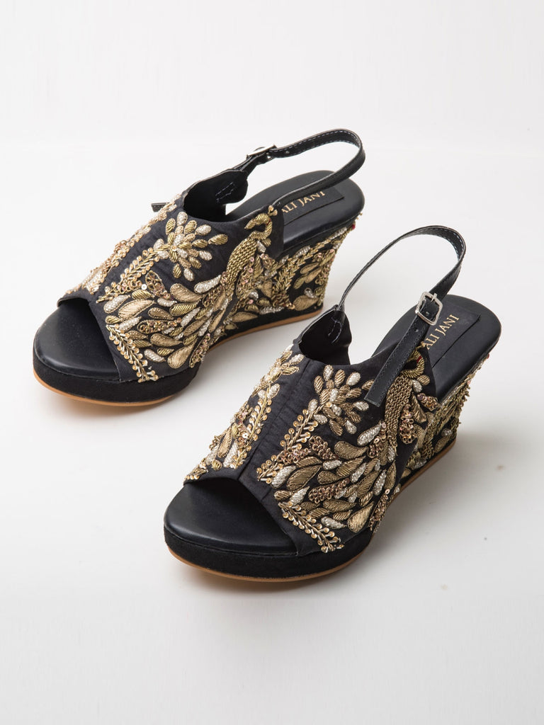 Black Raw Silk Peacock Motif Embroidered Peep-Toe Wedges