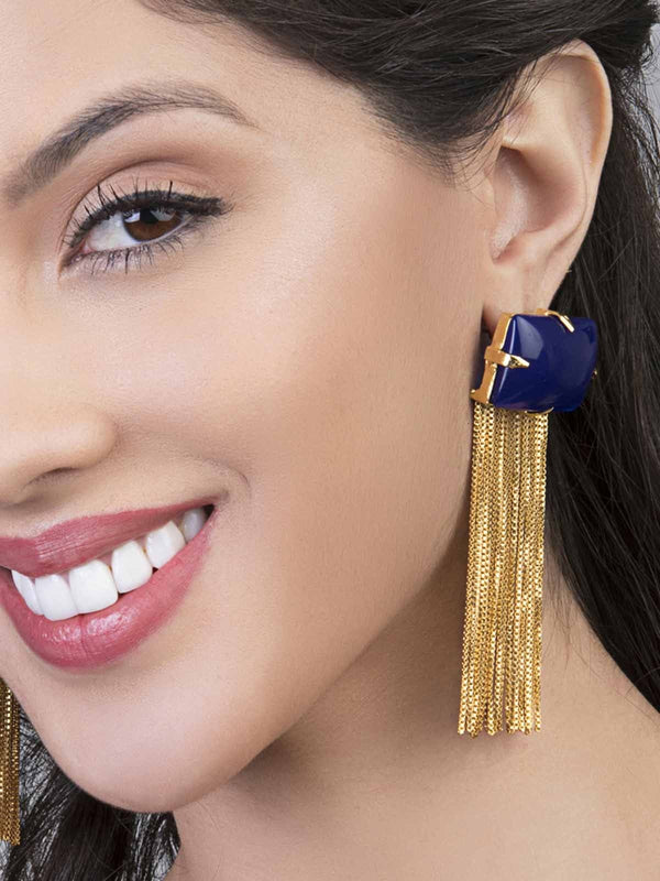 Blue Square Tassel Earrings