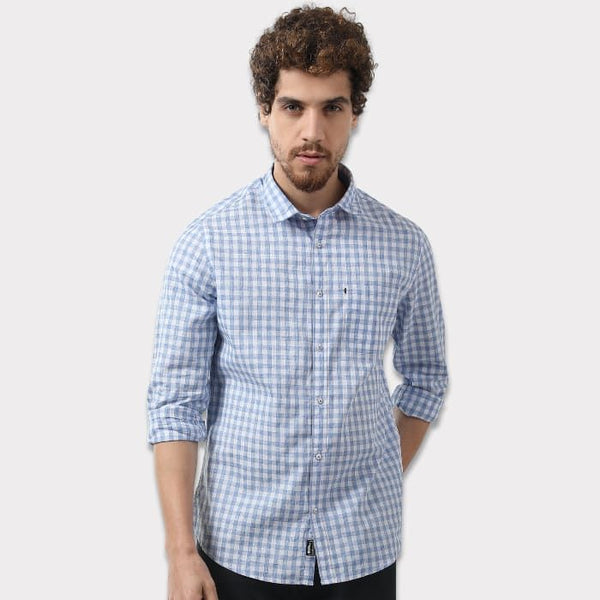 Blue & White Small Checkered Casual Shirt