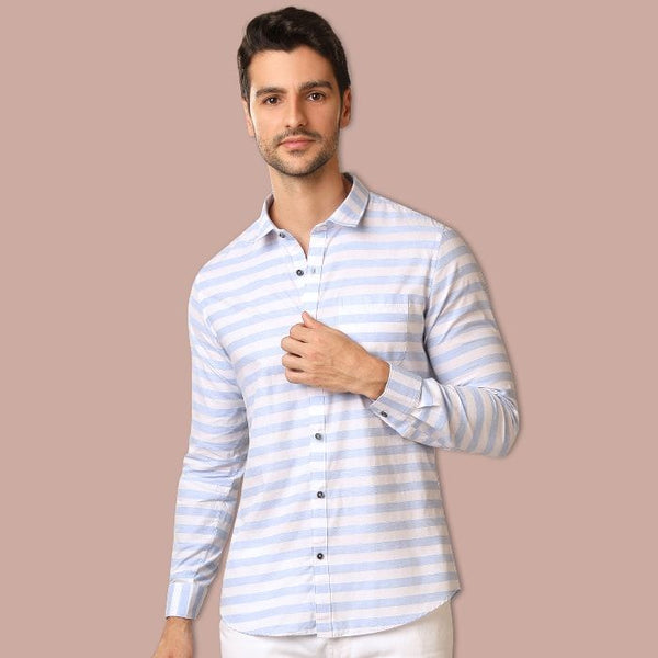 White & Blue Stripped Casual Shirt