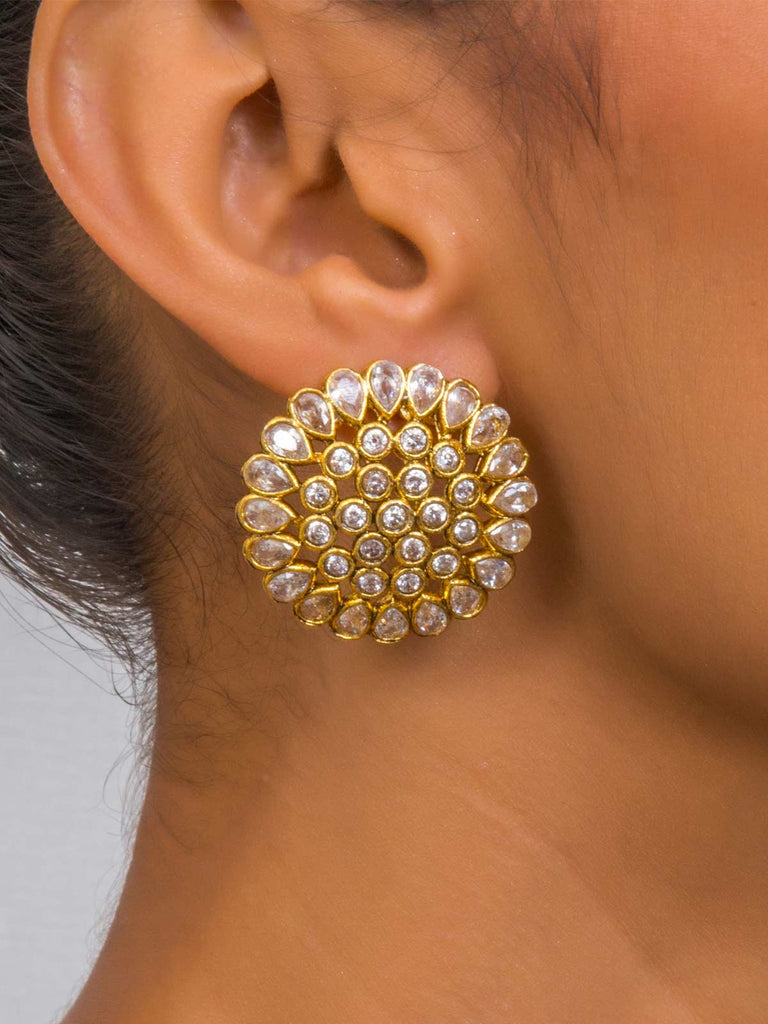 Bold And Elegant Gold Plated White Round Stud Earrings