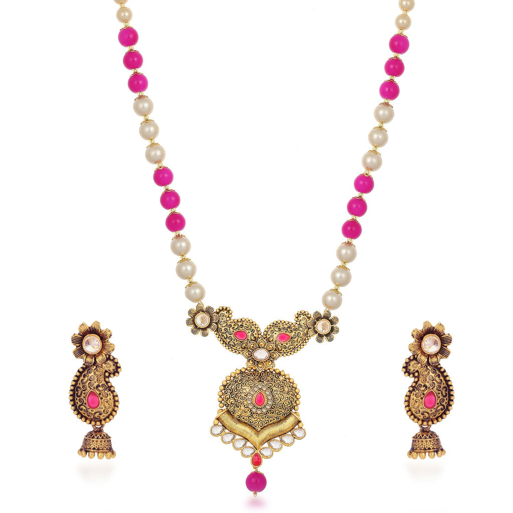 Sukkhi Lavish Collar Gold Plated Combo Of Necklace Set With Maang Tikka For Women
