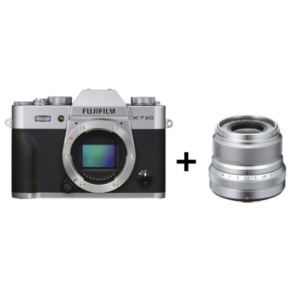 Fujifilm X-T20 Mirrorless Digital Camera Silver Body + Fujifilm XF 23mm f/2 R WR Lens