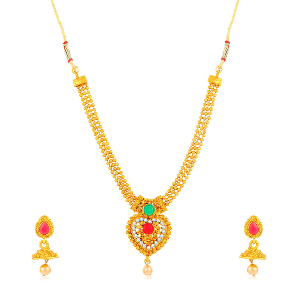 Sukkhi Stylish Gold Plated Heart Shaped 3 String Collar Combo Of Necklace Set With Maang Tikka For Women