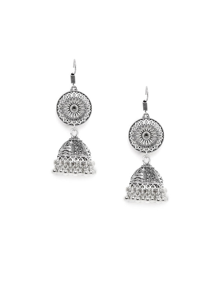 Classic Designer Tribal Jewellery Jhumkis With Hanging Silver Bells