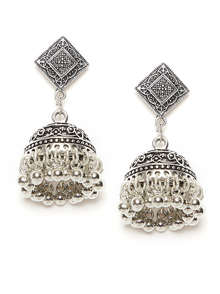 Classic Floral Motif Oxidized Silver Short Jhumki Earrings