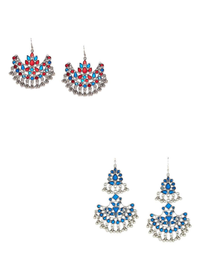 Combo of Blue and Multicolored Chandbali Earrings