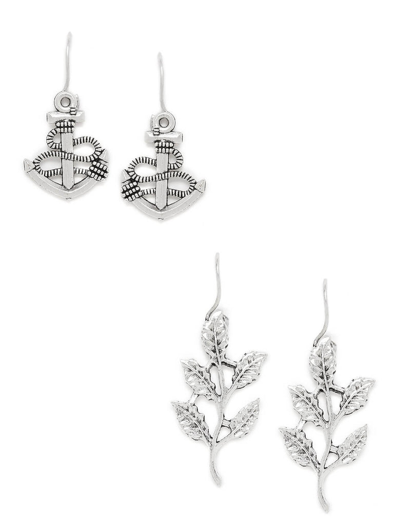 Combo of Silver Anchor and Silver Leaves Earrings