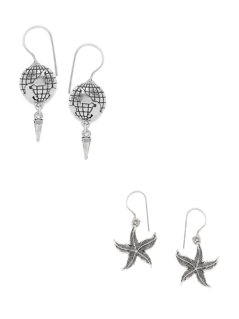 Combo of Silver Globe and Silver Starfish Earrings