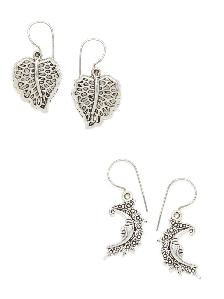 Combo of Silver Leaf and Silver Crescent Earrings