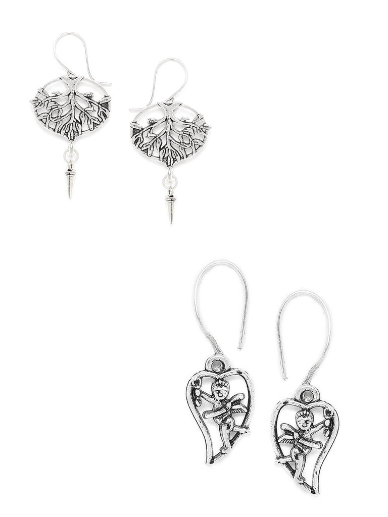 Combo of Silver Tree and Silver Cupid Earrings