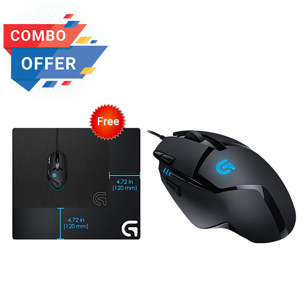 Logitech Gaming Mouse Wired G402 + Logitech Gaming Mouse Pad G640 Large Cloth Hendrix