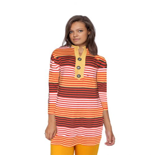 Sassy Multi Stripes Nehru Collar Woollen Kurti With Warm Legging