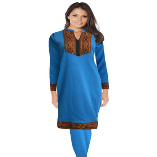 Classic Turquoise Blue Neck Embroidered Woolen Kurti With Warm Legging