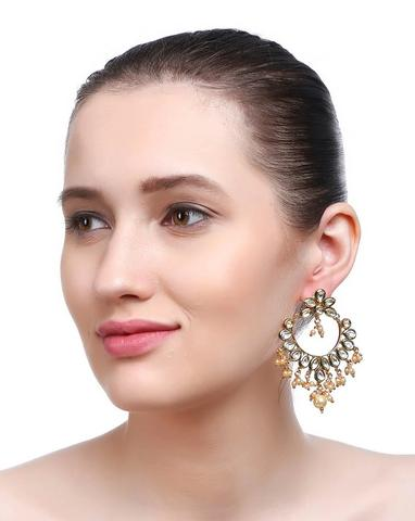 Gold Plating Kundan Stones With Pearls Dropping Geometric Design Dangler Earring By Imli Street